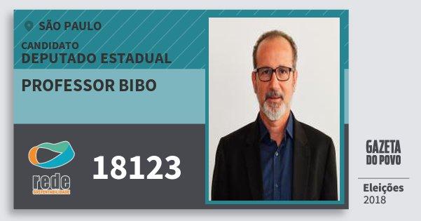 Santinho Professor Bibo 18123 (REDE) Deputado Estadual | São Paulo | Eleições 2018
