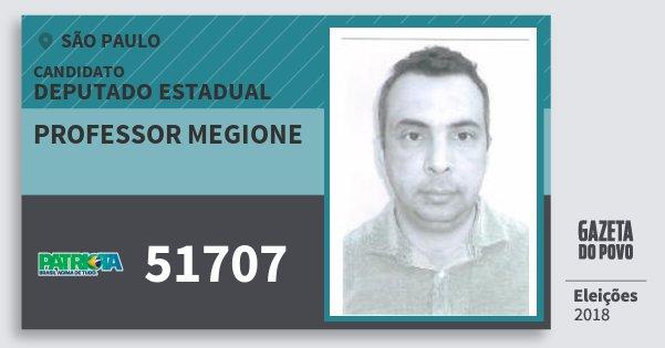 Santinho Professor Megione 51707 (PATRI) Deputado Estadual   São Paulo   Eleições 2018