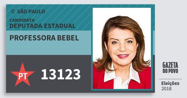 Santinho Professora Bebel 13123 (PT) Deputada Estadual | São Paulo | Eleições 2018