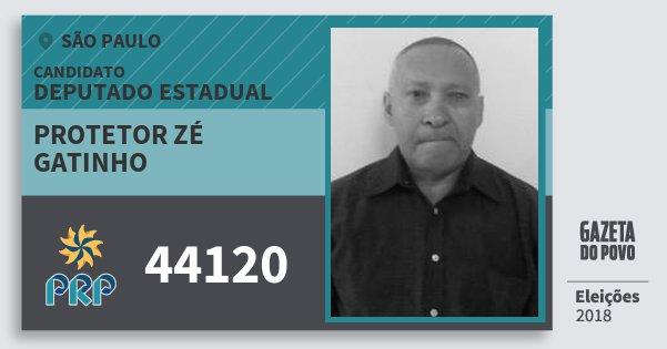 Santinho Protetor Zé Gatinho 44120 (PRP) Deputado Estadual | São Paulo | Eleições 2018