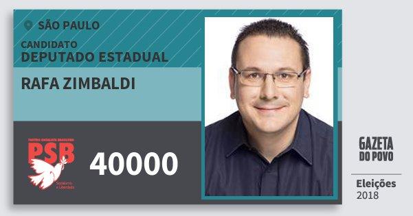 Santinho Rafa Zimbaldi 40000 (PSB) Deputado Estadual   São Paulo   Eleições 2018