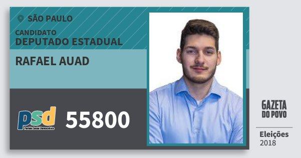 Santinho Rafael Auad 55800 (PSD) Deputado Estadual   São Paulo   Eleições 2018