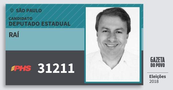 Santinho Raí 31211 (PHS) Deputado Estadual   São Paulo   Eleições 2018