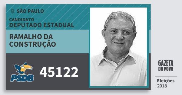 Santinho Ramalho da Construção 45122 (PSDB) Deputado Estadual | São Paulo | Eleições 2018