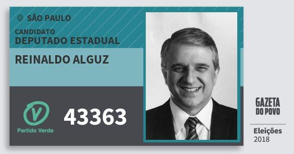 Santinho Reinaldo Alguz 43363 (PV) Deputado Estadual   São Paulo   Eleições 2018
