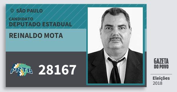 Santinho Reinaldo Mota 28167 (PRTB) Deputado Estadual   São Paulo   Eleições 2018