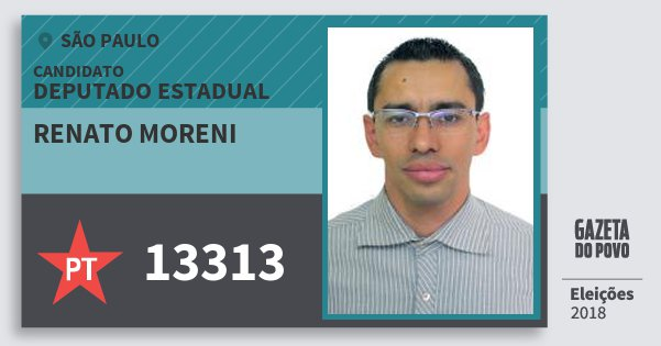 Santinho Renato Moreni 13313 (PT) Deputado Estadual | São Paulo | Eleições 2018