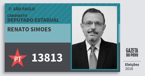 Santinho Renato Simoes 13813 (PT) Deputado Estadual   São Paulo   Eleições 2018