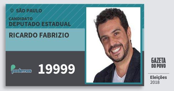 Santinho Ricardo Fabrizio 19999 (PODE) Deputado Estadual | São Paulo | Eleições 2018
