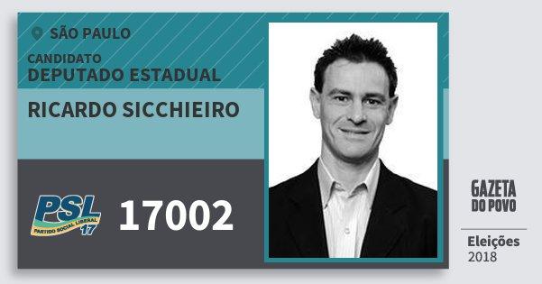 Santinho Ricardo Sicchieiro 17002 (PSL) Deputado Estadual | São Paulo | Eleições 2018