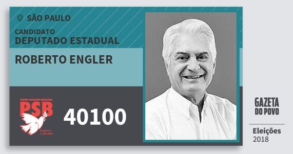 Santinho Roberto Engler 40100 (PSB) Deputado Estadual | São Paulo | Eleições 2018