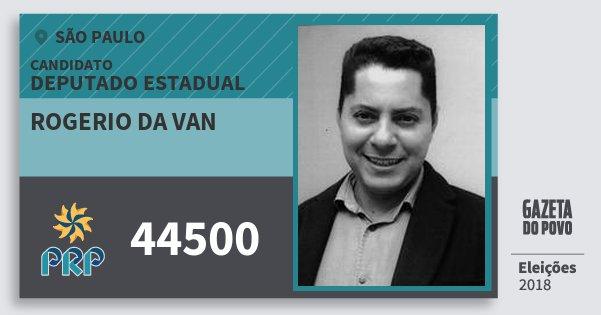 Santinho Rogerio da van 44500 (PRP) Deputado Estadual   São Paulo   Eleições 2018