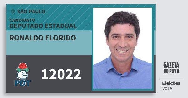 Santinho Ronaldo Florido 12022 (PDT) Deputado Estadual | São Paulo | Eleições 2018
