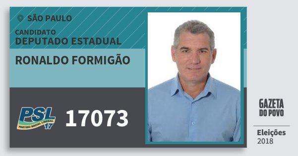 Santinho Ronaldo Formigão 17073 (PSL) Deputado Estadual | São Paulo | Eleições 2018