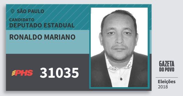 Santinho Ronaldo Mariano 31035 (PHS) Deputado Estadual   São Paulo   Eleições 2018