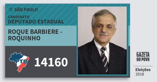 Santinho Roque Barbiere - Roquinho 14160 (PTB) Deputado Estadual | São Paulo | Eleições 2018
