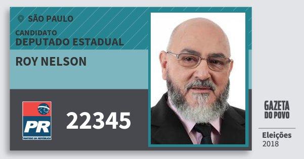 Santinho Roy Nelson 22345 (PR) Deputado Estadual | São Paulo | Eleições 2018