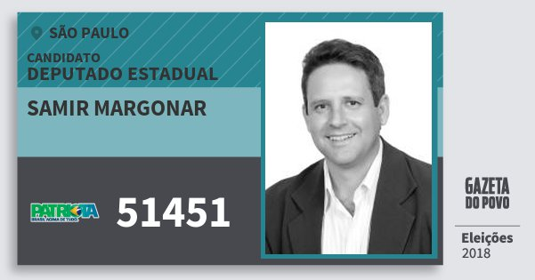 Santinho Samir Margonar 51451 (PATRI) Deputado Estadual | São Paulo | Eleições 2018