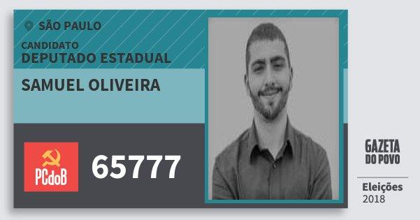 Santinho Samuel Oliveira 65777 (PC do B) Deputado Estadual   São Paulo   Eleições 2018