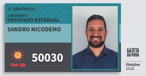 Santinho Sandro Nicodemo 50030 (PSOL) Deputado Estadual   São Paulo   Eleições 2018