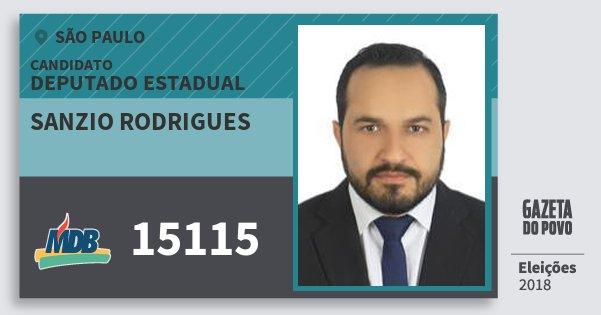 Santinho Sanzio Rodrigues 15115 (MDB) Deputado Estadual | São Paulo | Eleições 2018