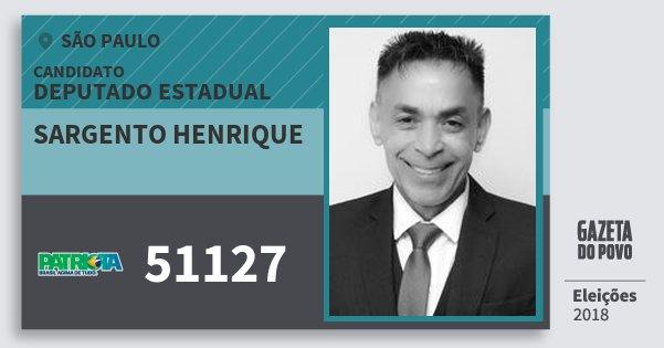 Santinho Sargento Henrique 51127 (PATRI) Deputado Estadual | São Paulo | Eleições 2018