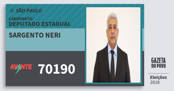 Santinho Sargento Neri 70190 (AVANTE) Deputado Estadual | São Paulo | Eleições 2018