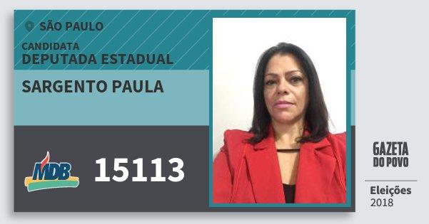 Santinho Sargento Paula 15113 (MDB) Deputada Estadual | São Paulo | Eleições 2018