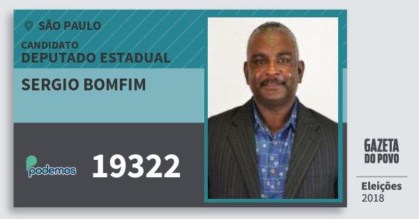 Santinho Sergio Bomfim 19322 (PODE) Deputado Estadual | São Paulo | Eleições 2018