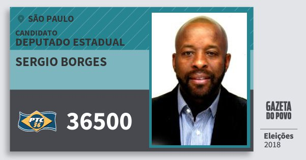 Santinho Sergio Borges 36500 (PTC) Deputado Estadual   São Paulo   Eleições  2018 f3aafa7129