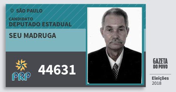Santinho Seu Madruga 44631 (PRP) Deputado Estadual | São Paulo | Eleições 2018