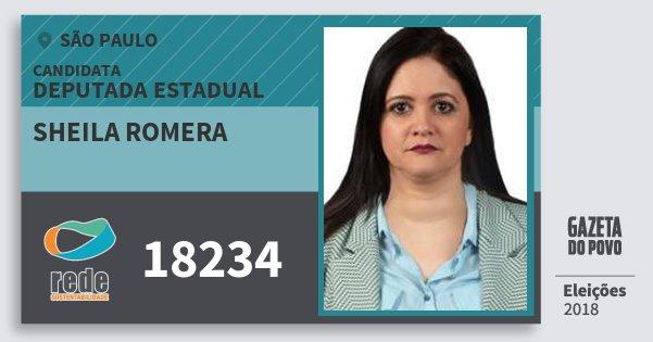 Santinho Sheila Romera 18234 (REDE) Deputada Estadual | São Paulo | Eleições 2018