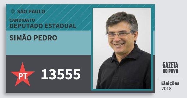 Santinho Simão Pedro 13555 (PT) Deputado Estadual | São Paulo | Eleições 2018