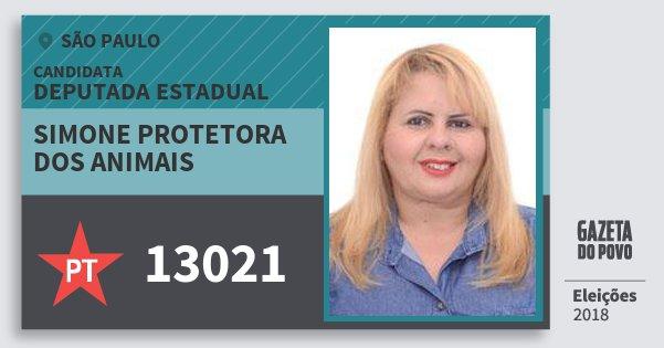 Santinho Simone Protetora dos Animais 13021 (PT) Deputada Estadual | São Paulo | Eleições 2018