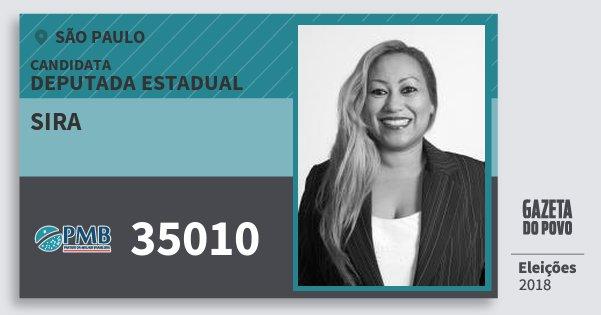 Santinho Sira 35010 (PMB) Deputada Estadual | São Paulo | Eleições 2018