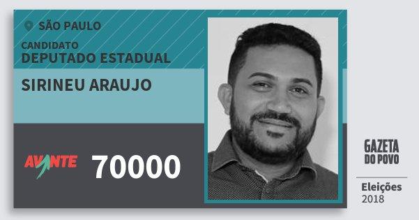 Santinho Sirineu Araujo 70000 (AVANTE) Deputado Estadual | São Paulo | Eleições 2018
