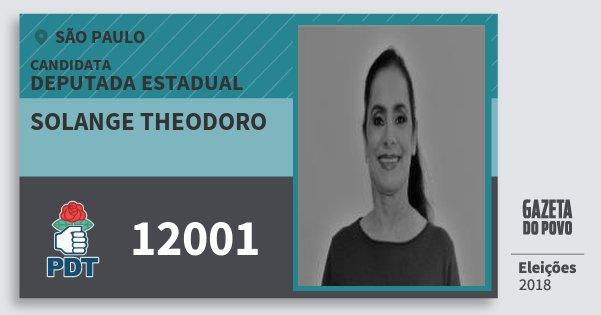 Santinho Solange Theodoro 12001 (PDT) Deputada Estadual | São Paulo | Eleições 2018