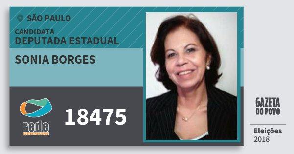 Santinho Sonia Borges 18475 (REDE) Deputada Estadual   São Paulo   Eleições 2018