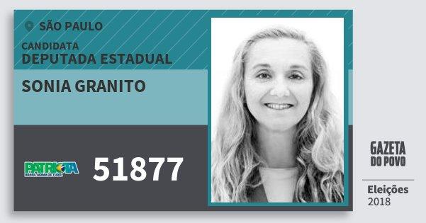 Santinho Sonia Granito 51877 (PATRI) Deputada Estadual   São Paulo   Eleições 2018