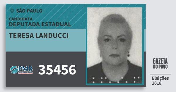 Santinho Teresa Landucci 35456 (PMB) Deputada Estadual | São Paulo | Eleições 2018