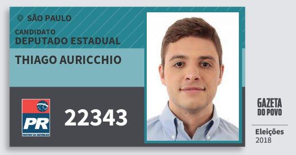 Santinho Thiago Auricchio 22343 (PR) Deputado Estadual | São Paulo | Eleições 2018