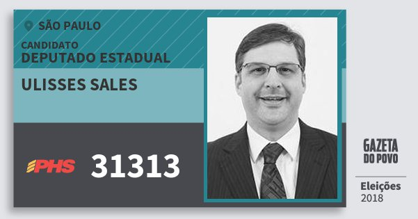 Santinho Ulisses Sales 31313 (PHS) Deputado Estadual   São Paulo   Eleições 2018