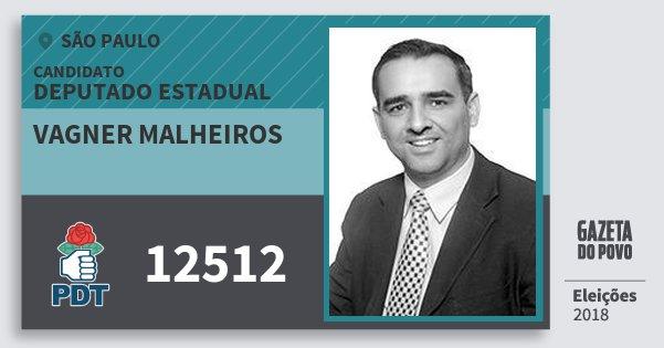 Santinho Vagner Malheiros 12512 (PDT) Deputado Estadual   São Paulo   Eleições 2018