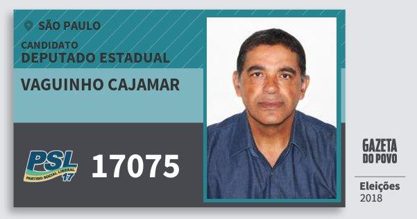 Santinho Vaguinho Cajamar 17075 (PSL) Deputado Estadual | São Paulo | Eleições 2018