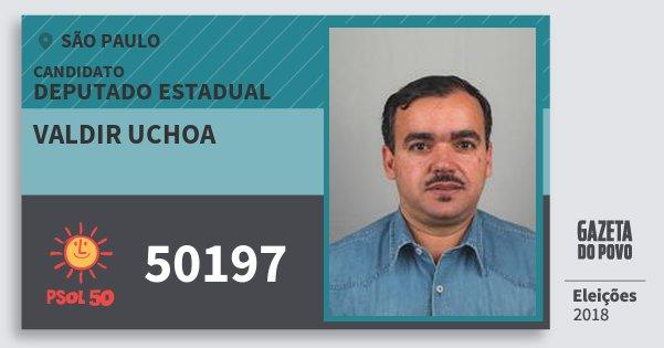 Santinho Valdir Uchoa 50197 (PSOL) Deputado Estadual | São Paulo | Eleições 2018