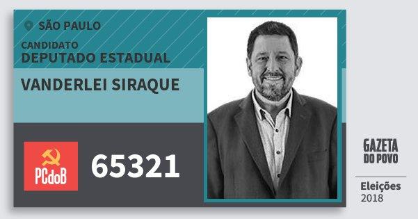 Santinho Vanderlei Siraque 65321 (PC do B) Deputado Estadual | São Paulo | Eleições 2018