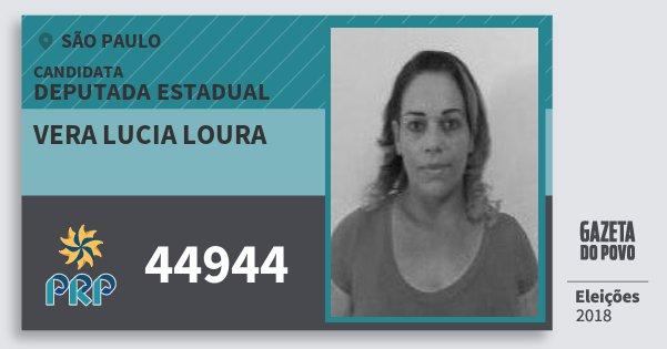 Santinho Vera Lucia Loura 44944 (PRP) Deputada Estadual | São Paulo | Eleições 2018