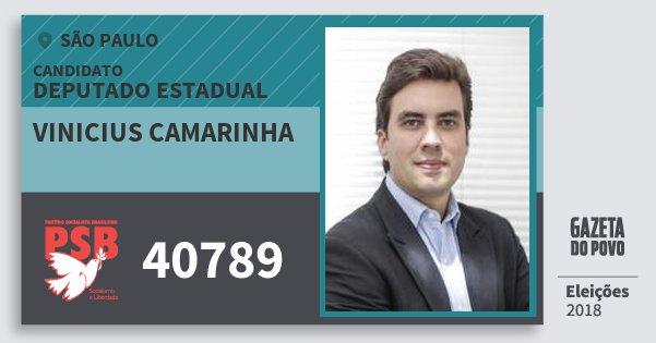 Santinho Vinicius Camarinha 40789 (PSB) Deputado Estadual   São Paulo   Eleições 2018