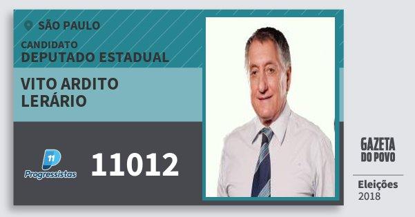 Santinho Vito Ardito Lerário 11012 (PP) Deputado Estadual   São Paulo   Eleições 2018