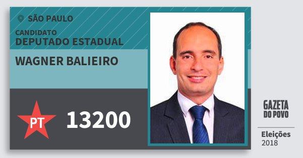 Santinho Wagner Balieiro 13200 (PT) Deputado Estadual | São Paulo | Eleições 2018